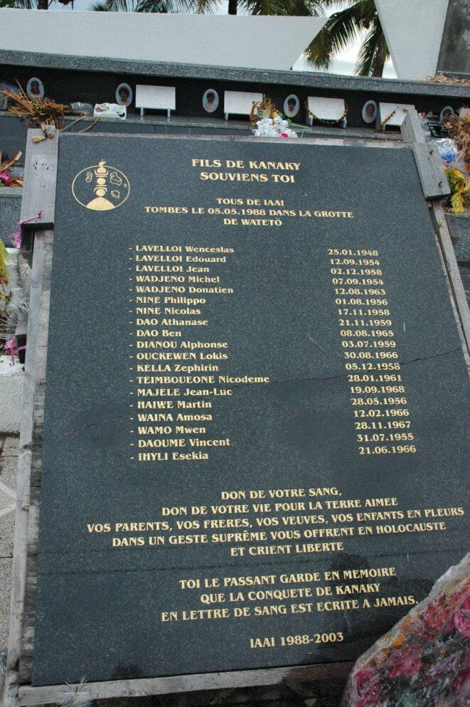 Noms des 19 Kanak assassinés à Gossanah sur le monument aux morts de Wadrilla (Ouvéa) © I. Leblic