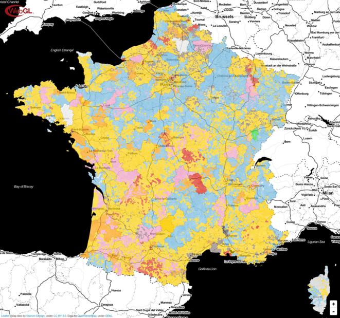 Carte navigable des résultats du second tour des élections législatives 2017 par communes © Manuel BACLET