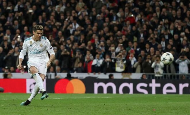 Real Madrid star Cristiano Ronaldo scoring a decisive goal on April 11th that sent his club into the semi-finals of the European Chamions League. © Reuters