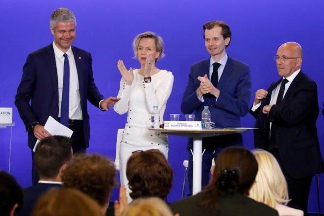 Laurent Wauquiez, Virginie Calmels, Guillaume Larrivé et Éric Ciotti le 18 avril, à la convention thématique sur l'immigration. © Reuters
