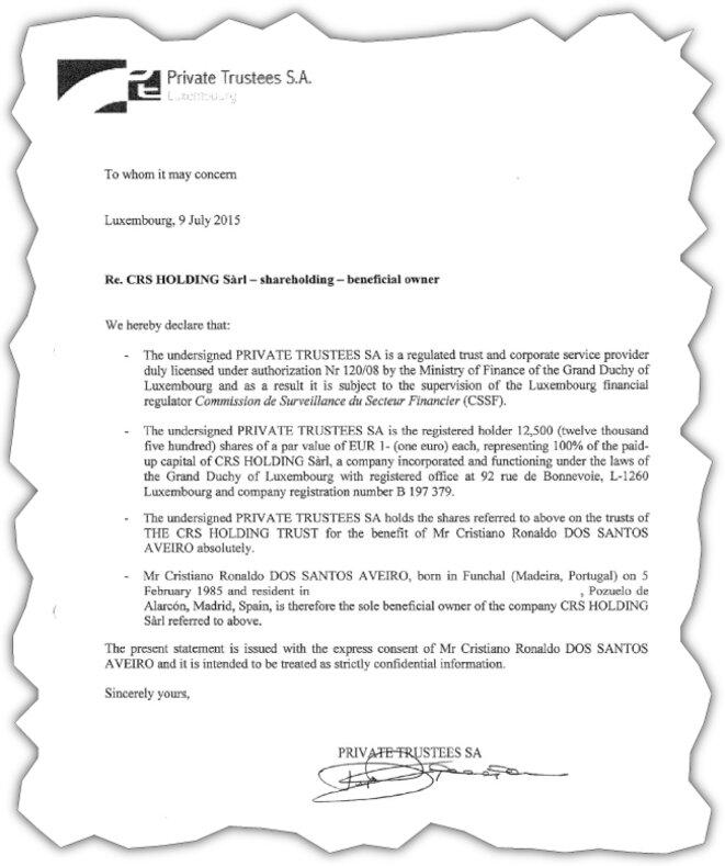 Cette attestation réalisée par un cabinet fiduciaire luxembourgeois prouve que Ronaldo est l'unique bénéficiaire du CRS Holding Trust, immatriculé à Jersey. © EIC