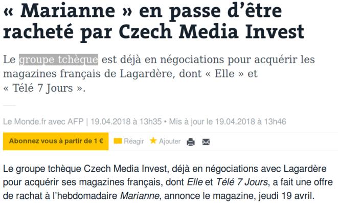 http://www.lemonde.fr/actualite-medias/article/2018/04/19/marianne-en-passe-d-etre-rachete-par-czech-media-invest_5287713_3236.html