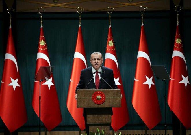 Conférence de presse présidentielle à Ankara, mercredi 18 avril 2018.
