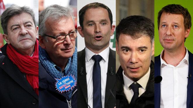 Jean-Luc Mélenchon, Pierre Laurent, Benoît Hamon, Olivier Faure et Yannick Jadot. © Reuters