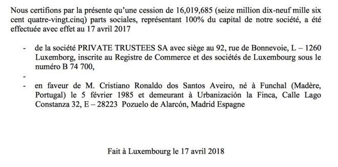 Suite à nos questions sur son trust à Jersey, Ronaldo l'a dissous et détient désormais directement sa société luxembourgeoise CRS Holding © EIC