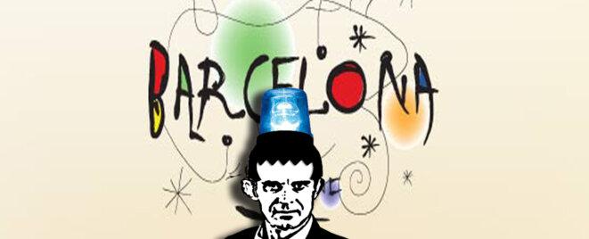 Manuel Valls Candidat à la mairie de Barcelone - Affiche de campagne © Danyel Gill