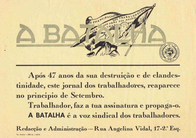 Papillon annonçant la reparution d'A Batalha pour septembre 1974