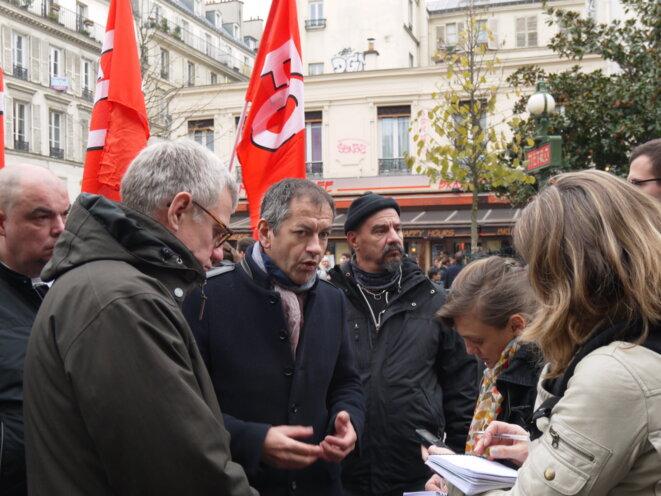 Pascal Pavageau lors de la manifestation parisienne du 16 novembre 2017. © D.I.