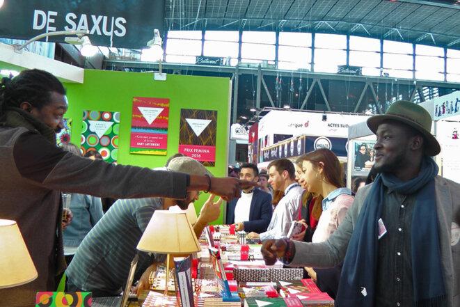 © Le poète et écrivain Makenzy Orcel et Benoit d'Afrique, Salon du livre de Paris, 16 mars 2018