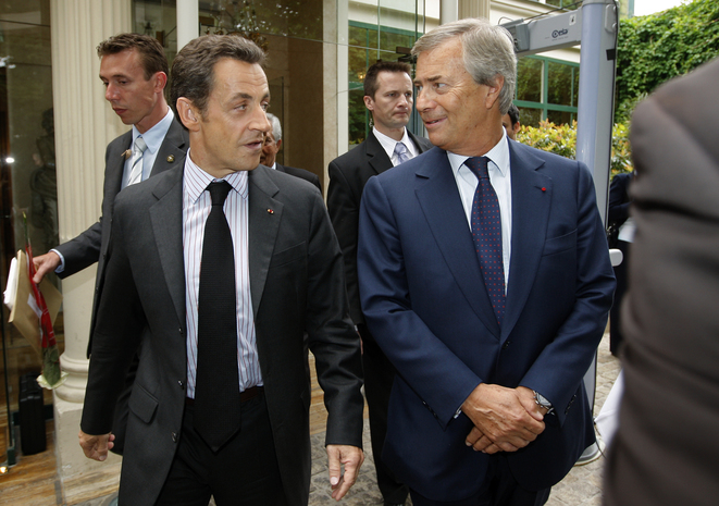 Vincent Bolloré with President Nicolas Sarkozy in March 2008. © Reuters