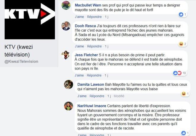 Florilège des commentaires haineux sur la page facebook de Kwezi © Damien Gautreau