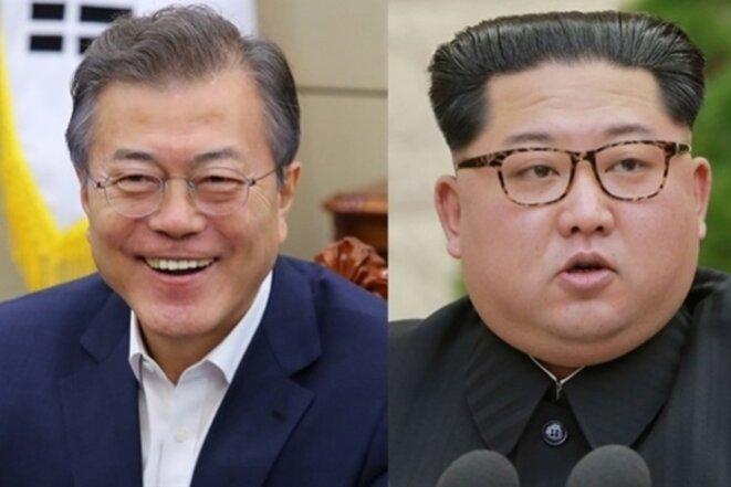 Moon Jae-in (Corée du Sud) et Kim Jong-un (Corée du Nord).