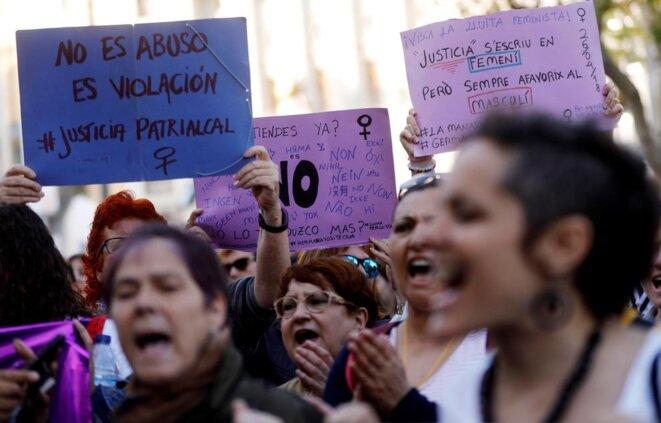 Protesta en las calles de Valencia en contra de la sentencia de 'La Manada', 26 de abril de 2018. © infoLibre