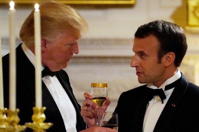 Donald Trump et Emmanuel Macron à la Maison Blanche, à Washington, le 24 avril 2018. © Reuters