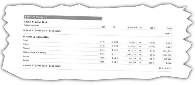 Extrait de la facture de la Mutualité. © Document Mediapart