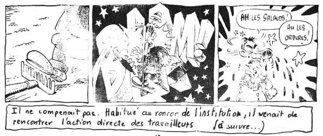 Une bande dessinée de grève en 1986/1987 © Les Utopiques
