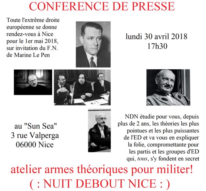 l'affiche de la conférence de presse de Nice (30/04/2018)