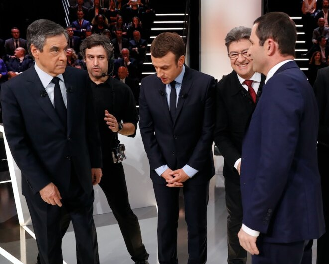 François Fillon, Emmanuel Macron, Jean-Luc Mélenchon and Benoît Hamon, on March 20th, 2017, during the presidential campaign. © Reuters