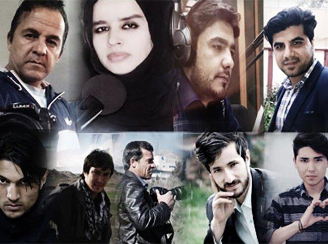 Les neuf journalistes victimes des attaques à Kaboul hier. © TOLO NEWS