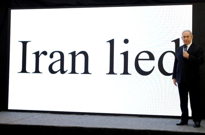 «L'Iran a menti», avertit le premier ministre israélien Benjamin Netanyahou dans une présentation qui n'apporte aucune preuve nouvelle. © Reuters