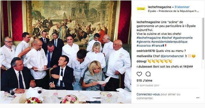 """Gran almuerzo de chefs en el Palacio del Elíseo el 27 de septiembre de 2017. Emmanuel Macron junto a su """"amigo"""" Olivier Ginon, propietario de la empresa GL Events."""