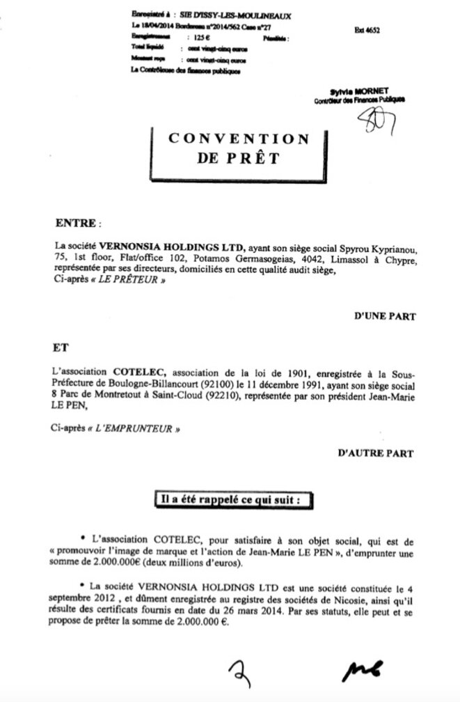 La première page de la convention de prêt de Cotelec, signée le 4 avril 2014. © Document Mediapart