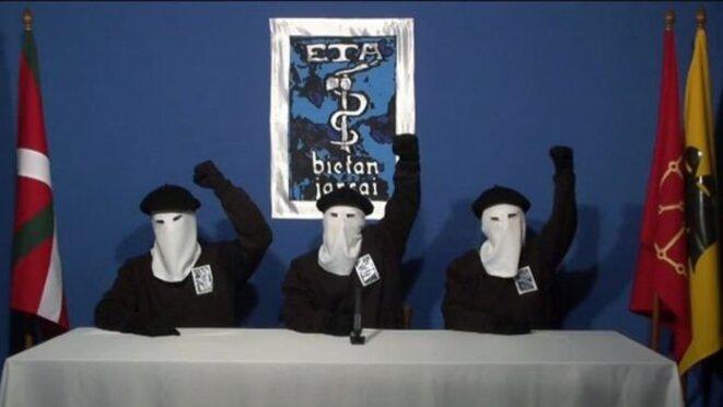 Conférence de presse d'ETA le 20 octobre 2011. © Vidéo diffusée sur le site d'information Gara.net