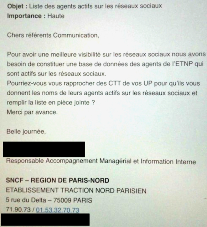 The controversial email sent by a manager at SNCF calling for a database on workers who are active on social media.