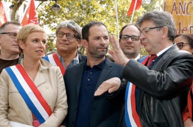 La gauche unie lors de la manifestation de La France insoumise, le 23 septembre 2017.