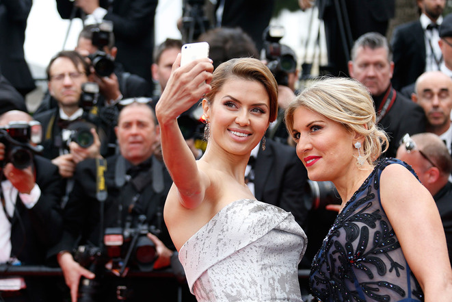 'Disrespectful': Russian television host Victoria Bonya (left) and Israeli socialite Hofit Golan on the red carpet at Cannes in 2014. © Reuters