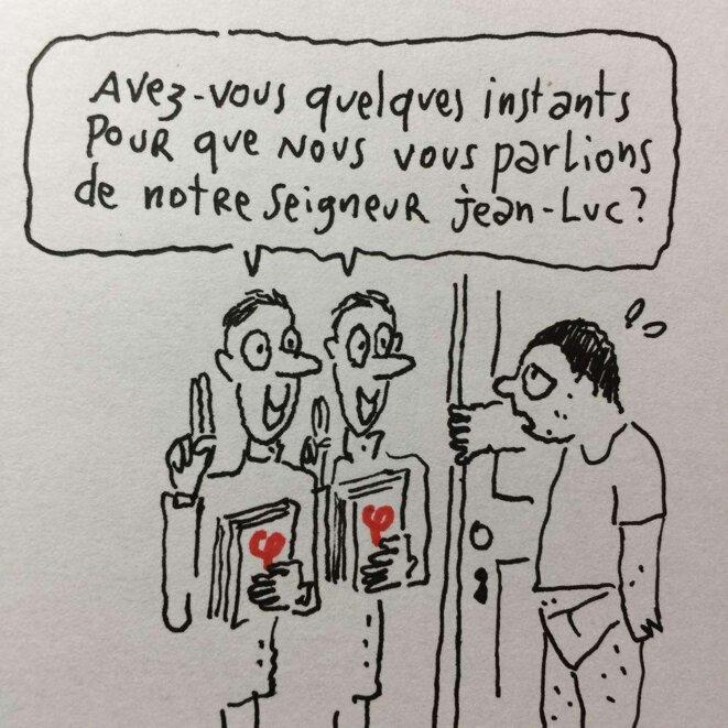 Joan Sfar, dessin paru sur son fil Twitter en avril 2017, largement trollé par la FI
