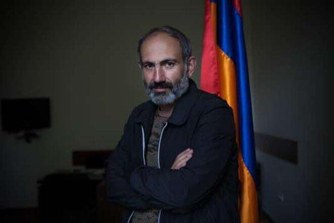 Nikol Pachinian au Parlement arménien, à Erevan, le 29 avril. © Olga Kravets pour Le Monde
