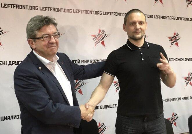 Jean-Luc Mélenchon et Sergueï Oudaltsov, le 8 mai à Moscou. © @JLMelenchon