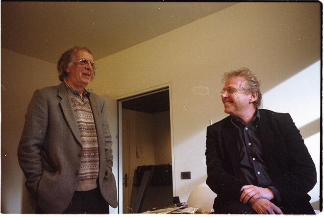 2008, retrouvaille de Daniel Cohn-Bendit et Gérard-AImé a Strasbourg © Michel Puech / Gamma-Rapho