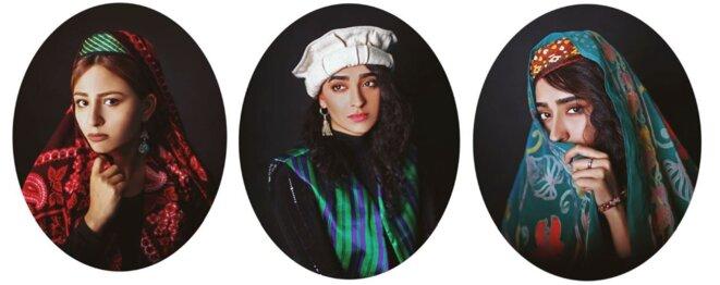 Série de portraits de femmes montrant la diversité culturelles de l'Afghanistan © Fatimah Hossaini