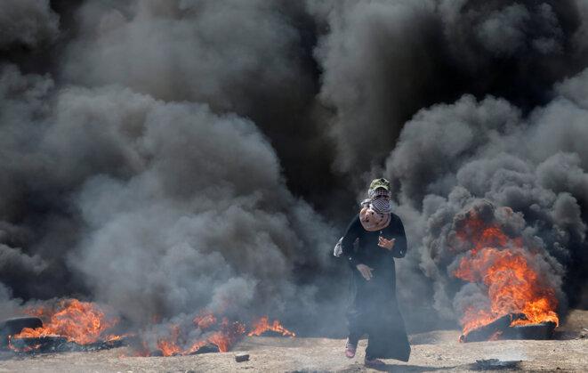 À la frontière de la bande de Gaza, lundi 14 mai 2018. © Reuters