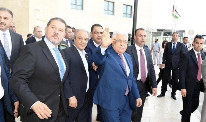 Mahloud Abbas, à la sortie de l'hôpital de Ramallah, le 15 mai. © Reuters