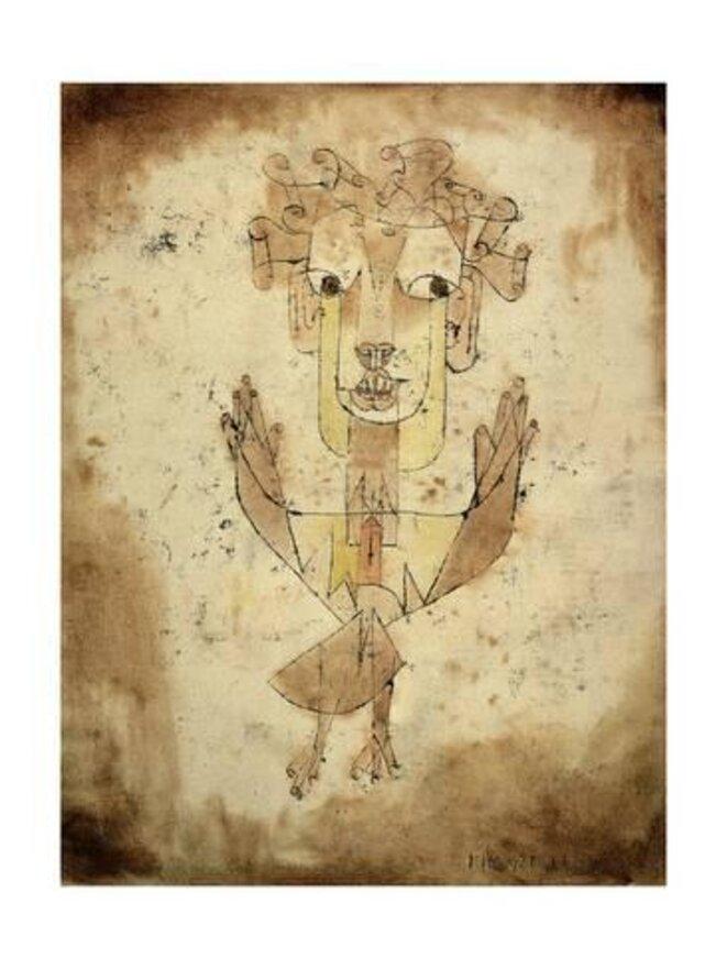 "Paul Klee, ""Angelus Novus"" (1920). Dibujo a tinta china, tiza y acuarela sobre papel. Museo de Israel, Jerusalén. © DR"