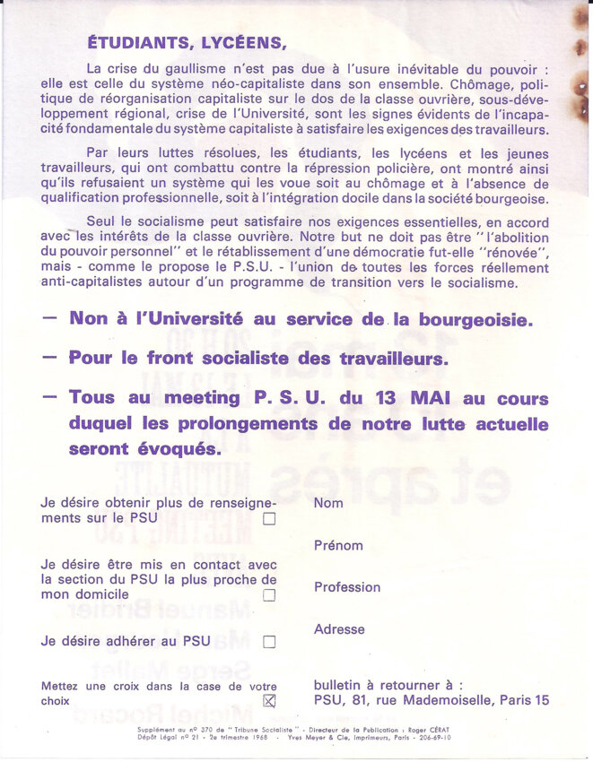 Appel du PSU aux étudiants et lycéens à participer au meeting du 13 mai à la Mutualité avec Michel Rocard © PSU avec le secrétaire national : Michel Rocard
