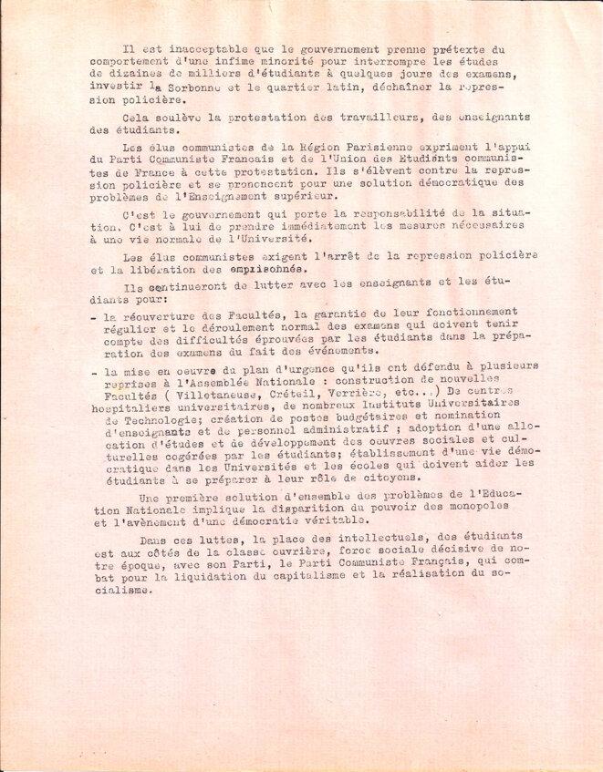 Déclaration du PCF face aux évènements. © Elus communistes de la région parisienne. Fédération de la région parisienne du PCF. Union des étudiants communistes de France.