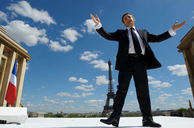 Le candidat Sarkozy, lors de son meeting au Trocadéro en 2012. © Reuters