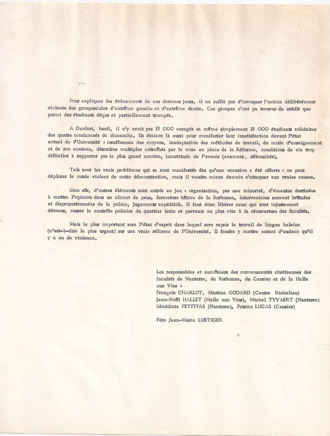Tract du 5 mai © Les responsables et aumôniers des communautés chrétiennes des facultés de Nanterre, Sorbonne , Censier et de la Halle aux vins (Jussieu)