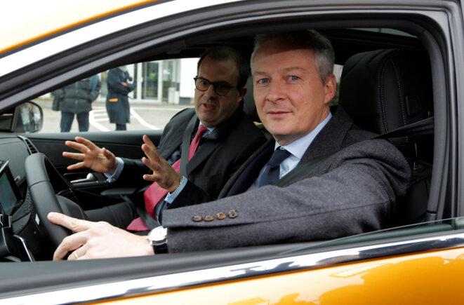 Le ministre de l'économie et des finances Bruno Le Maire sur le site PSA de Sausheim près de Mulhouse en février 2018. © Reuters
