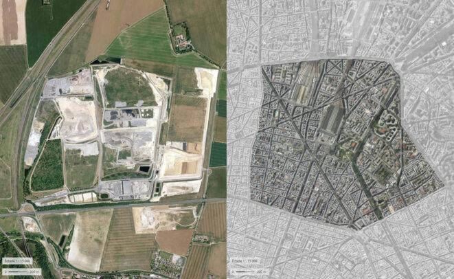 Décharge de Claye-Souilly en Seine-et-Marne : 289 hectares dédiés au stockage des déchets, l'équivalent du 10ème arrondissement © fair