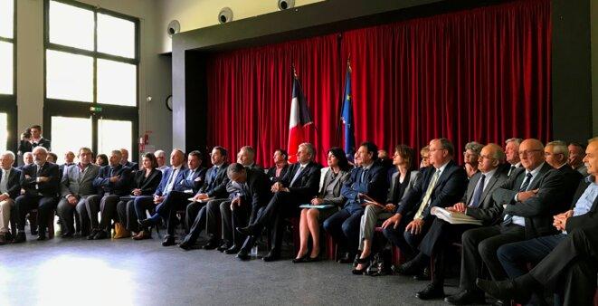 Maires, conseillers départementaux, vice-président du CD, député, sénateurs, et préfète [Photo YF)