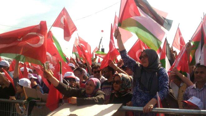 Lors d'un meeting de Recep Tayyip Erdogan, vendredi 18 mai, la foule agite des drapeaux turcs et palestiniens. © Nicolas Cheviron
