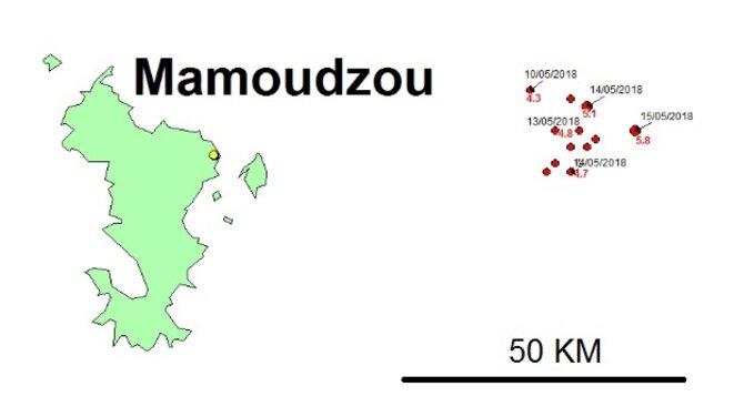 Localisation des principaux séismes à Mayotte en mai 2018 © BRGM