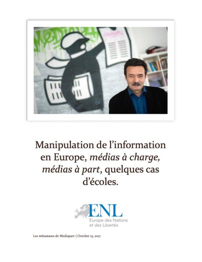 La première page du rapport, intitulé « Les métastases de Mediapart » et daté du 15 octobre 2017.