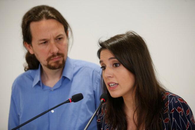 Pablo Iglesias et Irene Montero lors de leur conférence de presse conjointe 19 mai 2018. © Reuters