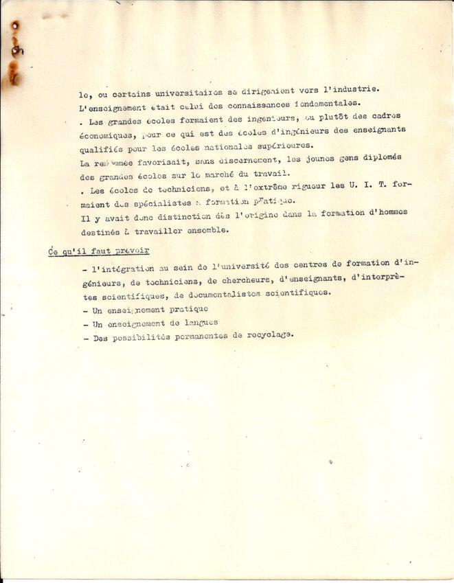 Proposition de réforme : Les buts de l'université © Commission enseignement, sciences, Jussieu